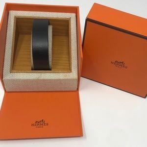 Hermès Black Leather Bangle In Presentation Box